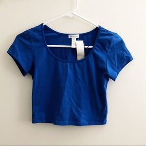 Brand New Royal Blue Short Sleeve Crop Top